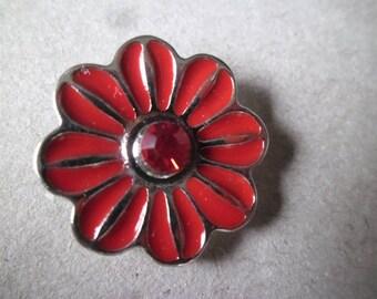 x 1 snap (jewel) 20 mm silver plated red enamel/rhinestone flower