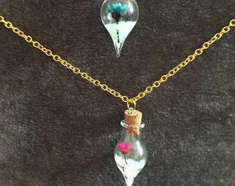 Glow in the Dark necklace, Glass bottle flower necklace, Festival necklace iten 502 by CraftyLittleMonkeyGB