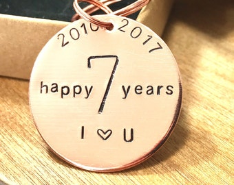 7th Anniversary Copper Keyring Hand Stamped 7 happy years for Him For Her Birthdays Wedding Anniversary