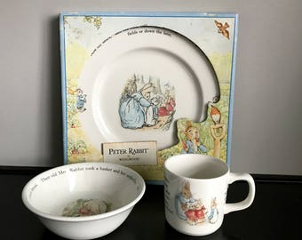 Wedgwood Peter Rabbit 3-Piece Set  - Dinner/Cake Plate, Coupe Cereal Bowl and Mug