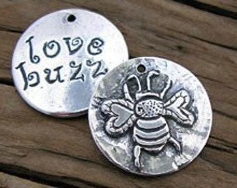 1 Rustic Sterling Silver Bee Charm w/ Love Buzz, 21mm -1 pc