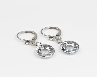 Silver round earrings, Swarovski Crystal, stainless steel