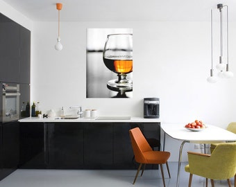 Whiskey Photography-Photo on Metal-Metal Photo Print-Bourbon Wall Art-Amber Wall Art-Masculine Decor-Black-White-Bar Wall Decor-Vertical