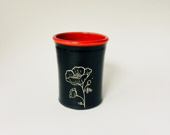 Handmade Poppy Pottery Tumbler