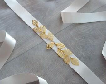Gold Leaf Bridal Belt, Gold Leaf Bridal Sash, Gold Leaf Wedding Sash, Gold Leaf Wedding Belt, Wedding Dress Belt, Wedding Dress Sash - Emily