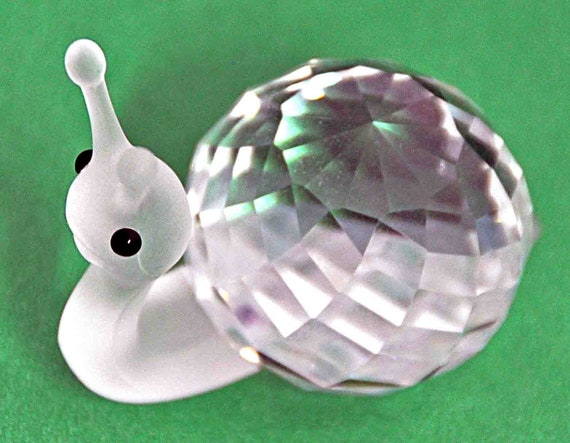 Reduced: Vintage c1986 SWAROVSKI CRYSTAL SNAIL Figurine 'In a Summer Meadow' Collection, Designer Michael Stamey No Box Excellent Condition