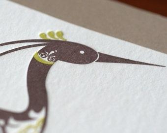 Natalie's Crane - Letterpress Bird Notecard