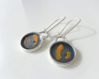 Yellow gray earrings, small earrings, round earrings