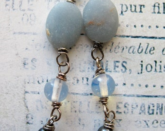 Matte Angelite, Vintage Opal Glass and Pearl Bead Dangles in Antiqued Sterling Silver - 1.75inches in length