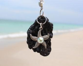 Natural Swarovski Cyrstal Starfish Beach Rock Necklace