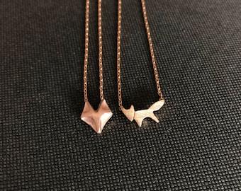 Tiny fox rosegold necklace