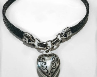 Leather Braided Chain Necklace Silver Tone Etched Heart Pendant