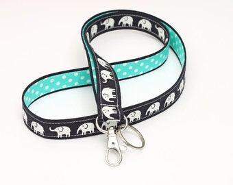 Fabric Key Chain Lanyard , Cute Neck Strap, Clip ID Holder, Nurse Lanyard Badge - white elephants in dark blue/black with turquoise dots