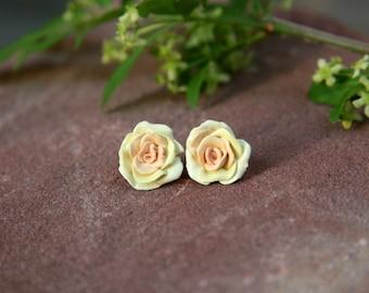 Autumn Yellow Rose Stud Earrings