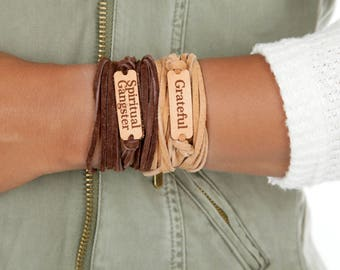 Mantra Spiritual Gangster Wrap Bracelet |  Inspirational Bracelet  | Leather or Suede Wrap  | Color Choices  | Choker Bohemian Gift for Her