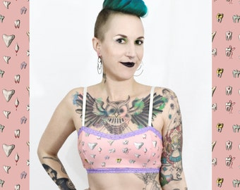 Teeth and lace Bra - Pink - creepy cute