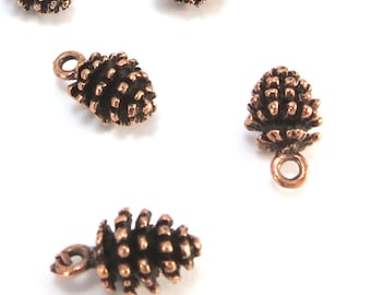 Pine Cones, 4 Pinecone Charms, Double Sided Copper Pine Cone Charms, Tree Pendant, Jewelry Making, Made in USA, Item 986m