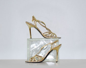 """Vintage Guess by Marcianno Golden High Heeled Strappy Leather Sandals - Size 7.5M - 4"""" Heel"""