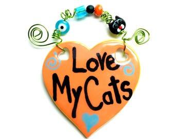 Love My Cats #537 orange ceramic sign/cats/cat sign/cat Rescue/orange/cat gift