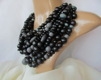 Black wooden bead necklace Ukrainian jewelry Ukrainian style Gift from Ukraine