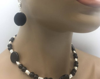 Black & Silver Jewelry Set - Necklace w/ Matching Earrings - Beaded Jewelry Set