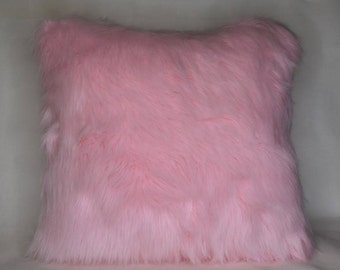 pink sheepskin decorative throw pillow square rectangle faux fur handmade usa girly pillow for girl's room