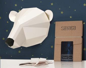 Polar Bear paper KIT | papercraft 3D | Wall Sculpture | Polar bear nursery | White bear ornament | Paper trophy | Papercraft Animal Wall art