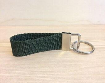 Dark olive green mini key ring - key fob - key ring wristlet - key fob wristlet - gift for men