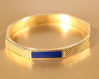 Vintage 80s Bangle Enamel Bangle Gold Tone bangle Bracelet Everydaywear French Jewelry