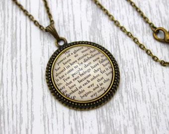Les Misérables, 'The Power Of A Glance', Les Mis, Victor Hugo Quote Necklace or Keychain, Keyring.