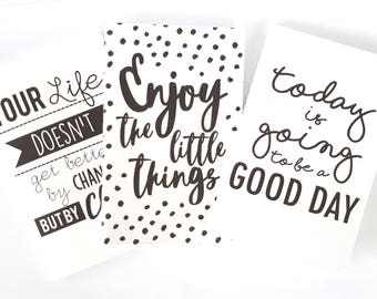 Set of 3 matte black and white mini notebooks with different quotes | Today is going to be a good day, Enjoy the little things