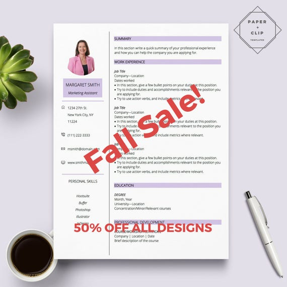 Purple Resume Template for Word// CV Template // 1 Page Resume