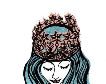 Girl With Crown - Blue