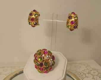 Rare 1960s Vendome Design Statement Ring and Earrings Demi Parure