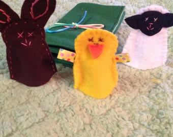 Felt Easter finger puppet set of 3  Easter basket filler Bunny finger puppet Chick finger puppet Lamb finger puppet. Spring celebration