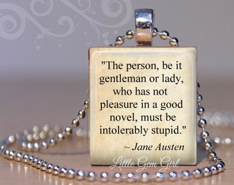 Jane Austen Book Quote Necklace Pendant Intolerably Stupid -  Book Lover Librarian Gift - Book Club Charm - Bookish Jewelry