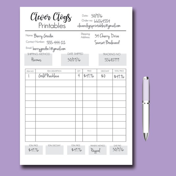 Custom Order Form Business Organizer Branded Staionery