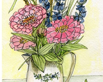 Pink Zinnias in Pitcher Botanical Garden Flower Still Life Illustration Floral Watercolor