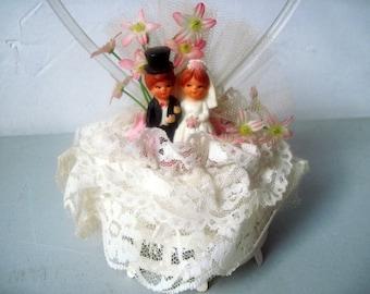 Vintage 1950s 1960s Wedding cake Bride Groom Topper
