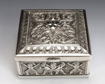 Antique Asian Silver Hand Chased Deity & Elephant Cigarette Box