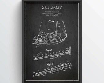 1996 Sailboat Patent Poster, Sailboat print, Sailboat Poster, Patent Art Print, Patent Print, Home Decor, Gift Idea, NA25P