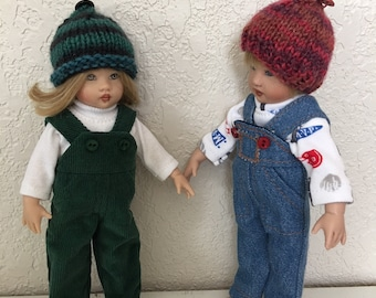 """Choice of Overalls, Shirt, and Cap to fit 7 1/2"""" DJ and Riley Kish Doll"""