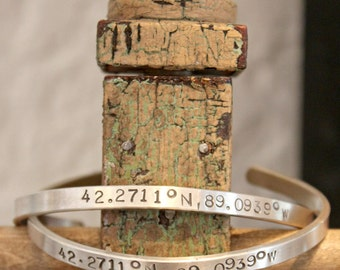 Latitude and Longitude Sterling Silver Cuff Bracelet. Personalized Coordinates.