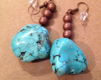 Turquoise and bronze beads ear rings