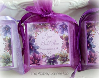 Watercolor Plum Florals, soap favors, set of 12, bridal shower favors