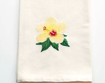 Yellow Hibiscus Embroidered Kitchen Towel   Embroidered Tea Towel   Embroidered Towel   Personalized Kitchen Towel   Hawaii Gifts