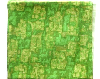 Vintage Silk Fabric in Greens and Pale Yellow / Screen Printed Abstract Print Mid-Centruy Design