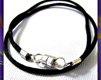 12 to 24 inch Black Necklace Cord, Pendant Cord, Jewelry Cord, Charm Cord, Choker Necklace, Black Satin Cord, Magnetic Clasp, Custom