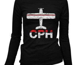 Women's Fly Copenhagen Long Sleeve Tee - CPH Airport - S M L XL 2x - Ladies' Copenhagen T-shirt, Denmark, Kobenhavn - 2 Colors
