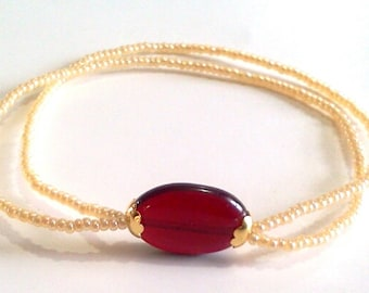 Red Glass Oval Bead Minimal Seed Bead Bracelet, Tiny Beads Feminine Bracelet, Golden Yellow Minimal Stretch Small Bead Bracelet